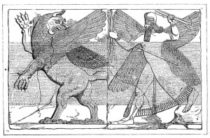 "Marduk (the storm god) slaying Tiamat (chaos). Recorded in the Babylonian Creation Epic ""Enuma Elish"""