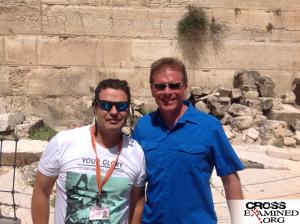Eli Shukron and Frank Turek outside the Western Wall at the Temple Mount, about 1,000 feet north of the City of David site.