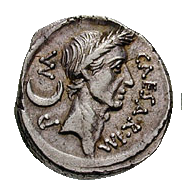 Roman denarius with the image of Augustus
