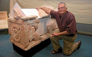 Archaeologist, Ehud Netzer with the fragments of Herod's sarcophagus