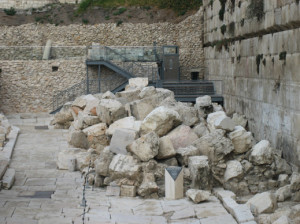 Remains from the Temple platform, destroyed in A.D. 70 by the Romans