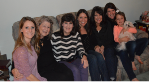Four Generations: (L to R) Sara (Tricia's daughter), Mimi (Tricia's mom), Tricia, Jessica (sis's daughter), LynnaRea (Tricia's sis), Ashleigh (sis's daughter) and her daughter, Ally, and Charlie Mac