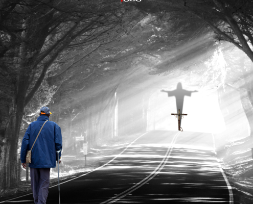 Man walking towards God